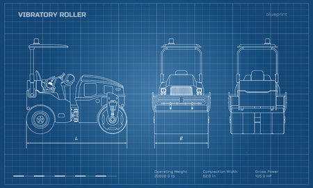 Vibratory roller in outline style. Side, back and front view. Building machinery image. Industrial isolated drawing of asphalt compactor. Diesel vehicle blueprint Ilustrace