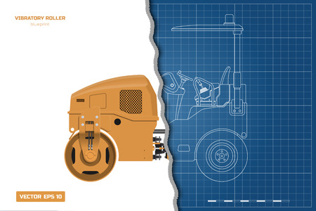 Vibratory roller in outline style. Side, back and front view. Building machinery . Industrial isolated drawing of asphalt compactor. Diesel vehicle blueprint