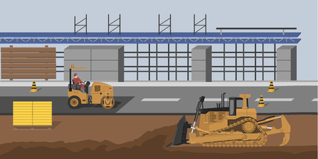 Construction site with bulldozer and vibratory roller. Market building. Industrial landscape. Cityscape with machinery. Vector illustration