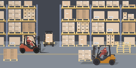 Warehouse scene. Storehouse and forklifts. Racks with boxes and containers. Logistic process. Industrial view. Vector illustration