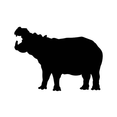 Black silhouette of roaring hippopotamus on white background. Isolated hippo icon. Wild african animals