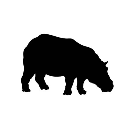 Black silhouette of hippopotamus on white background. Isolated hippo icon. Wild african animals. Vector illustration 向量圖像