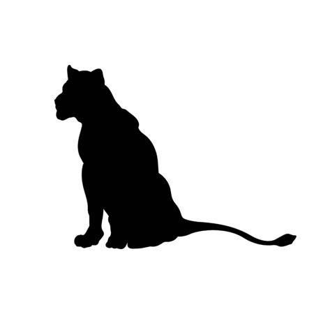 Black silhouette of sitting lion on white background. Lioness image. Isolated icon of wild cat. African animals 向量圖像