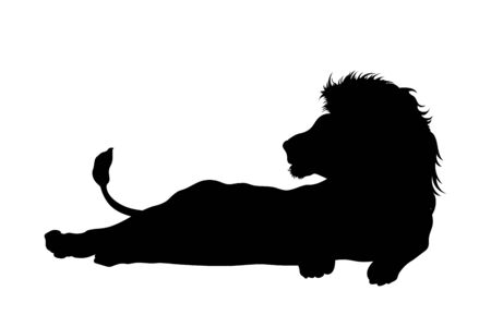 Black silhouette of lying lion on white background. Isolated icon of wild cat. African animals