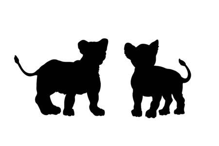 Black silhouette of young lions on white background. Lionet image. Isolated icon of wild cat. African animals. Vector illustration Illustration