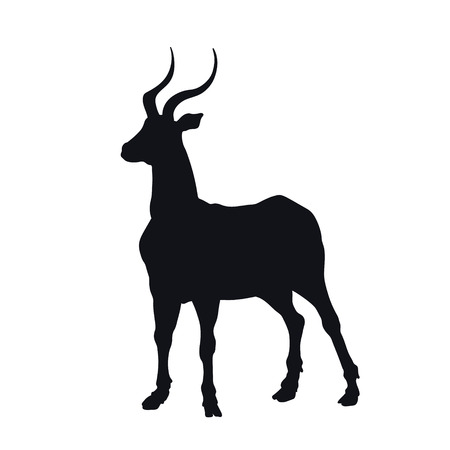 Black silhouette of african gazelle on white background. Isolated antelope icon. Wild animals of Africa. Savannah nature