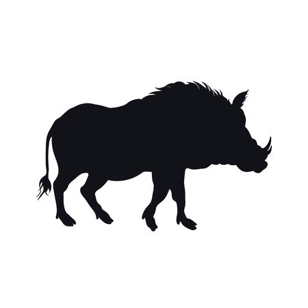 Black silhouette of african boar on white background. Isolated desert warthog icon. Wild animals of Africa. Savannah nature. Vector illustration