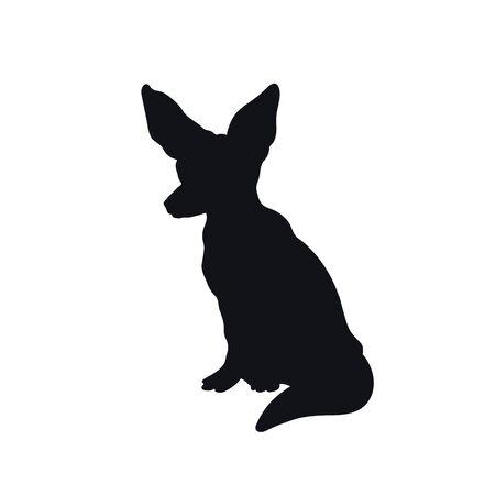 Black silhouette of african fenech fox on white background. Isolated icon. Wild animals of Africa. Savannah nature. Desert wildlife. Vector illustration Illustration