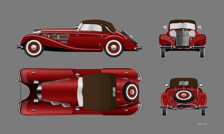 Red retro car on gray background. Vintage cabriolet in realistic style. Front, side, top and back view. Industrial isolated blueprint. 3d automobile Illustration