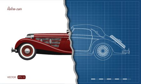 Outline blueprint of retro car. Vintage cabriolet in realistic style. Side view. Industrial blueprint. 3d automobile