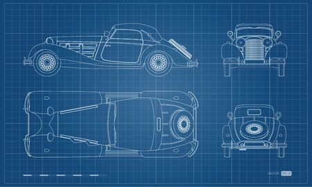 Outline blueprint of retro car. Vintage cabriolet. Front, side, top and back view. Industrial isolated drawing Illustration