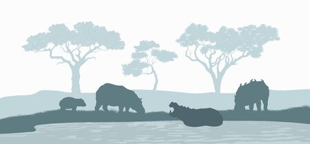 Black silhouette of hippopotamus family. Scene with hippos. Landscape of wild african animals. Savannah panorama