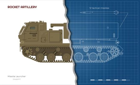Outline blueprint of missile vehicle. Rocket artillery. Side view. 3d drawing of military tractor with jet weapon. Camouflage tank. Vector illustration