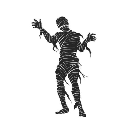Black silhouette of mummy. Halloween party. Isolated image of scary monster. Mummified zombie on white background. Vector illustration