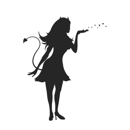 Black silhouette of devil girl. Halloween party. Isolated image of evil woman. Glamour lady on white background