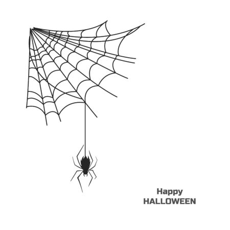 Black silhouette of spider on web. Halloween party. Isolated image of poison insect.  Vector illustration Illustration