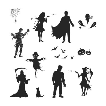 Black silhouettes of halloween characters. Isolated image of vampire, witch, mummy and ghost. Elements for october holiday design. Gothic monster.  イラスト・ベクター素材