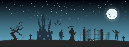 Halloween banner with fantasy silhouettes. Landscape of cemetery with mummy, death and frankenstein. Holiday scene of october party. Illustration
