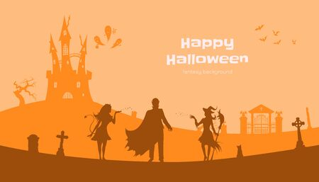 Halloween banner with fantasy silhouettes. Landscape of cemetery with witch, vampire and devil. Holiday scene of october party 向量圖像
