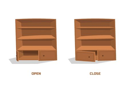 Old cupboard in cartoon style. Isolated image of brown cabinet. Home interior