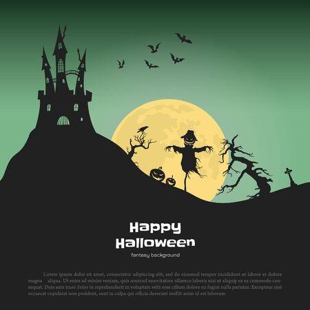 Banner di Halloween con sagome di fantasia. Paesaggio del cimitero con spaventapasseri e zucche. Scena festiva della festa di ottobre