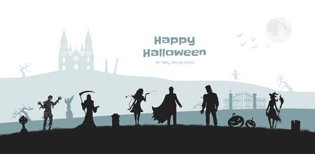 Halloween banner with fantasy silhouettes. Landscape of cemetery with mummy, witch and frankenstein. Horror panorama Illustration