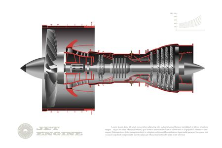 Jet engine of airplane. Industrial aerospace blueprint. 3d drawing of plane motor. Part of aircraft. Side view