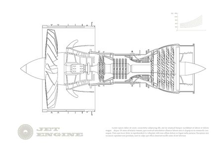 Jet engine of airplane in outline style. Industrial aerospace blueprint. Drawing of plane motor. Part of aircraft. Isolated image. Side view