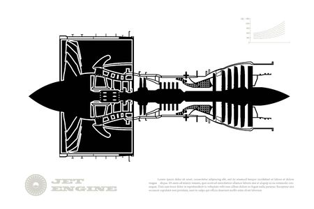 Black silhouette  airplane jet engine. Industrial aerospace blueprint. Drawing of plane motor. Part of aircraft. Isolated image. Side view Illustration