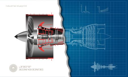 Jet engine of airplane in outline style. Industrial aerospace blueprint. 3d drawing of plane motor. Part of aircraft. Side view Illustration