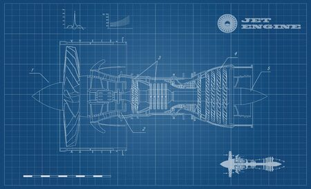 Jet engine of airplane in outline style. Industrial aerospace blueprint. Drawing of plane motor. Part of aircraft. Side view. Vector illustration
