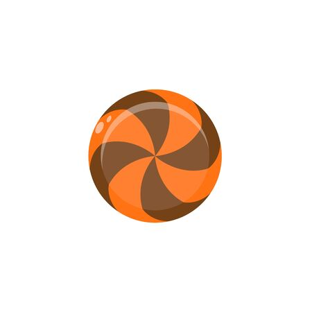 Orange and brown caramel on white background. Isolated image of candy. Circle lollipop. Vector illustration