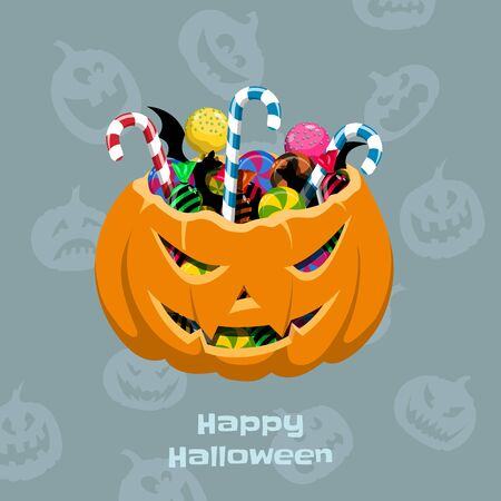Halloween pumpkin with candies. Scary basket with caramel and lollipop. Greeting card in cartoon style. Vector illustration