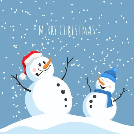 Postcard with happy snowmans. Christmas greeting card in cartoon style. New year poster