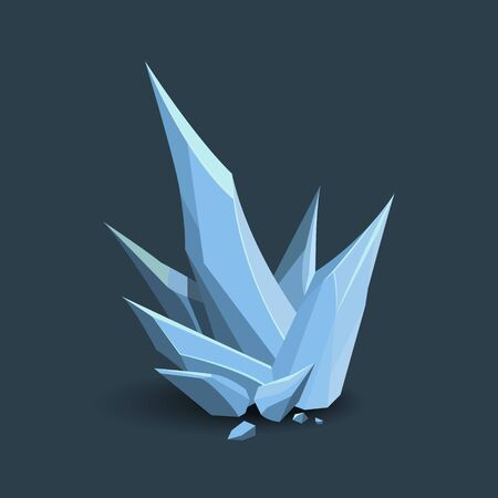 Ice crystal in cartoon style. Isometric 3d frozen spike. GUI element. Magical icicle
