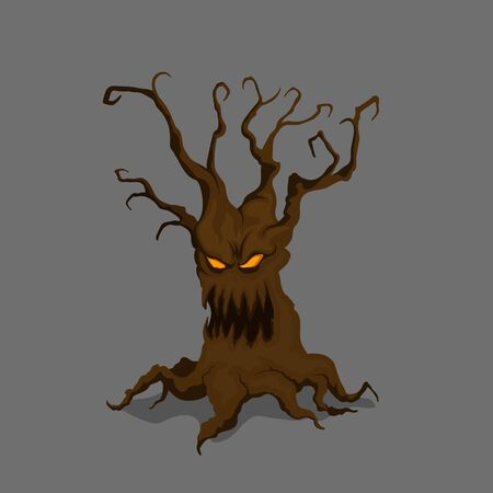 Halloween tree in cartoon style. Fantasy monster in isometric view. Isolated image of scary character