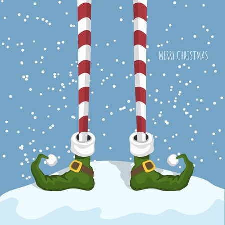 Christmas elf in cartoon style. Santas helper in green shoes. Greeting card with funny legs. Fantasy character standing on snow