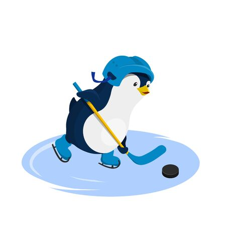 Penguin in helmet playing hockey. Isolated character in cartoon style. Winter sport. Fanny image of arctic bird