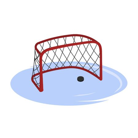 Hockey goal in cartoon style. Isolated image of arena equipment. Winter sport. Vector illustration 向量圖像