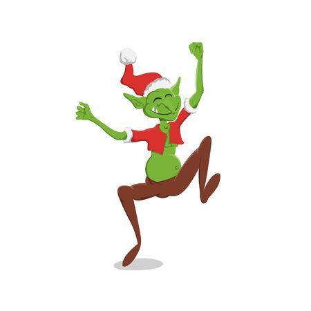 Thin goblin in christmas hat. Green troll in cartoon style. Fantasy monster in santa cotume. Jumping gremlin. Vector illstration 向量圖像