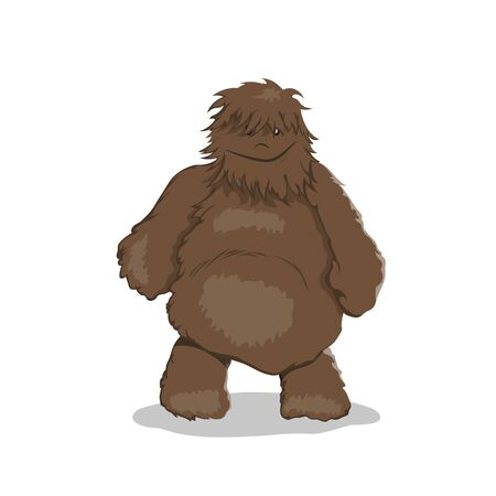 Fat bigfoot in cartoon style. Brown yeti. Isolated image of fantasy forest monster. Vector illustration  Illustration