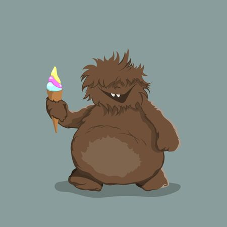 Little bigfoot in cartoon style. Brown yeti with ice cream. Isolated image of fantasy forest monster. Vector illustration