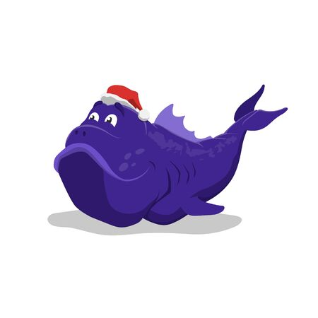 Big blue fish in Santas hat. Christmas pet in cartoon style. Isolated image of sea monster. Vector illustration