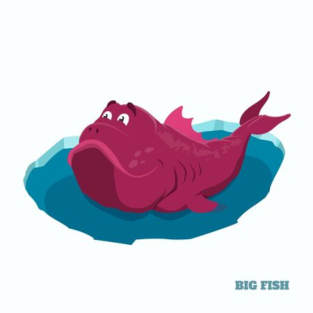 Big pink fish in cartoon style. Fantasy lake monster in ice hole. Isolated image of fishing trophy. Vector illustration