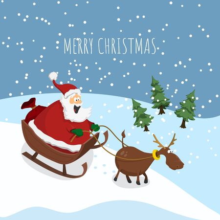 Christmas card with Santa Claus and deer. Winter landscape in cartoon style. Sled with New Years gifts. Poster of funny characters