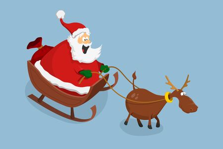 Santa Claus and deer in cartoon style. Sled with New Years gifts. Isolated image of christmas characters. Vector illustration