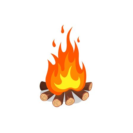Cartoon image of bonfire. Isolated icon of forest fire. Burning firewood on white background. Vector illustration