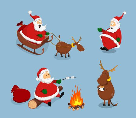 Santa Claus and deer in cartoon style. Isolated image of christmas characters. New Years scene Ilustração