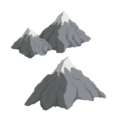 Gray mountains in cartoon style. Isometric view of rock. Isolated 3d icon