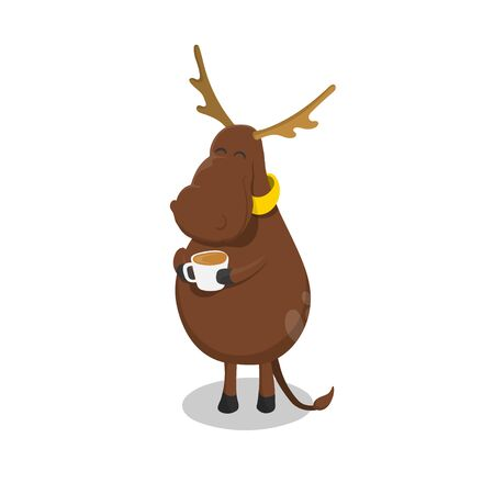 Deer with cup of tea. Elk drinking coffee. Isolated image in cartoon style